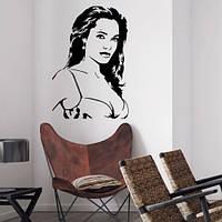 Интерьерная виниловая наклейка на обои Анджелина Джоли (известные люди голивуд наклейки) матовая 650х970 мм