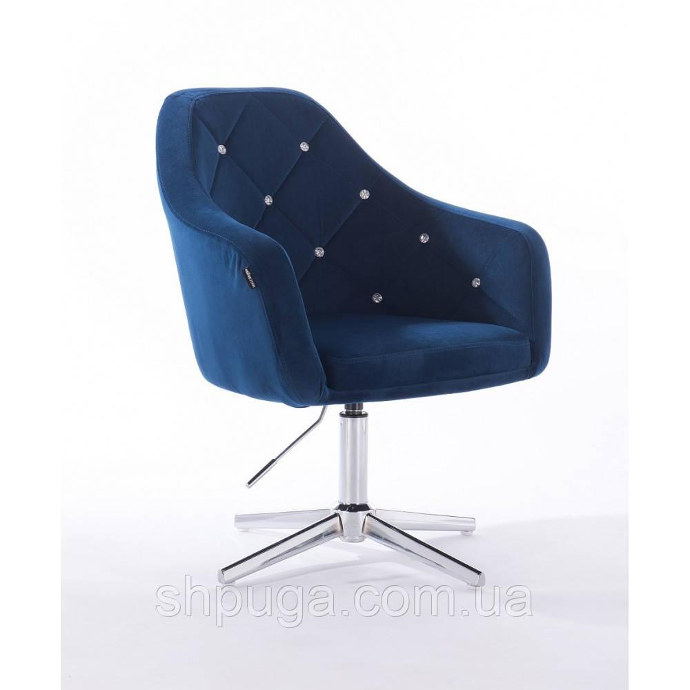 Кресло  830 синий велюр стразы