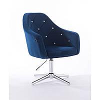 Кресло  830 синий велюр стразы, фото 1