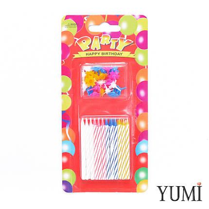 Свечи PARTY для торта Cпираль 24 шт. МИНИ с разноцветными подставками, фото 2