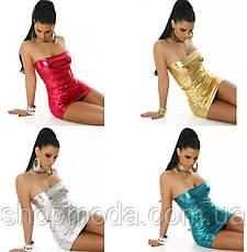 Латексное эротическое короткое платье.Яркое платье мини., фото 2
