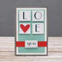 Открытка стандартная I love you буквы и сердце