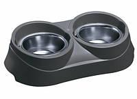 Ferplast Duo Feed Пластмассовая подставка с мисками из стали для собак и кошек