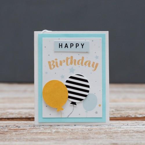 Открытка мини Happy Birthday шарики золотой и черный в полоску