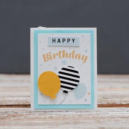Открытка мини Happy Birthday шарики золотой и черный в полоску, фото 2