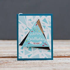 Открытка мини Happy Birthday голубой треугольник