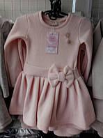 Платье для девочки мелкая вязка 3-6 лет с длинными рукавами персикового цвета