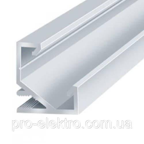 """Серия """"Econom"""" Профиль алюминиевый LED угловой ЛП7 17х17мм, анодированный, цвет - серебро."""
