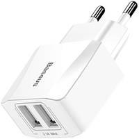 Сетевое ЗУ Baseus Mini Dual-USB Charger 2.1 A, White (CCALL-MN02)