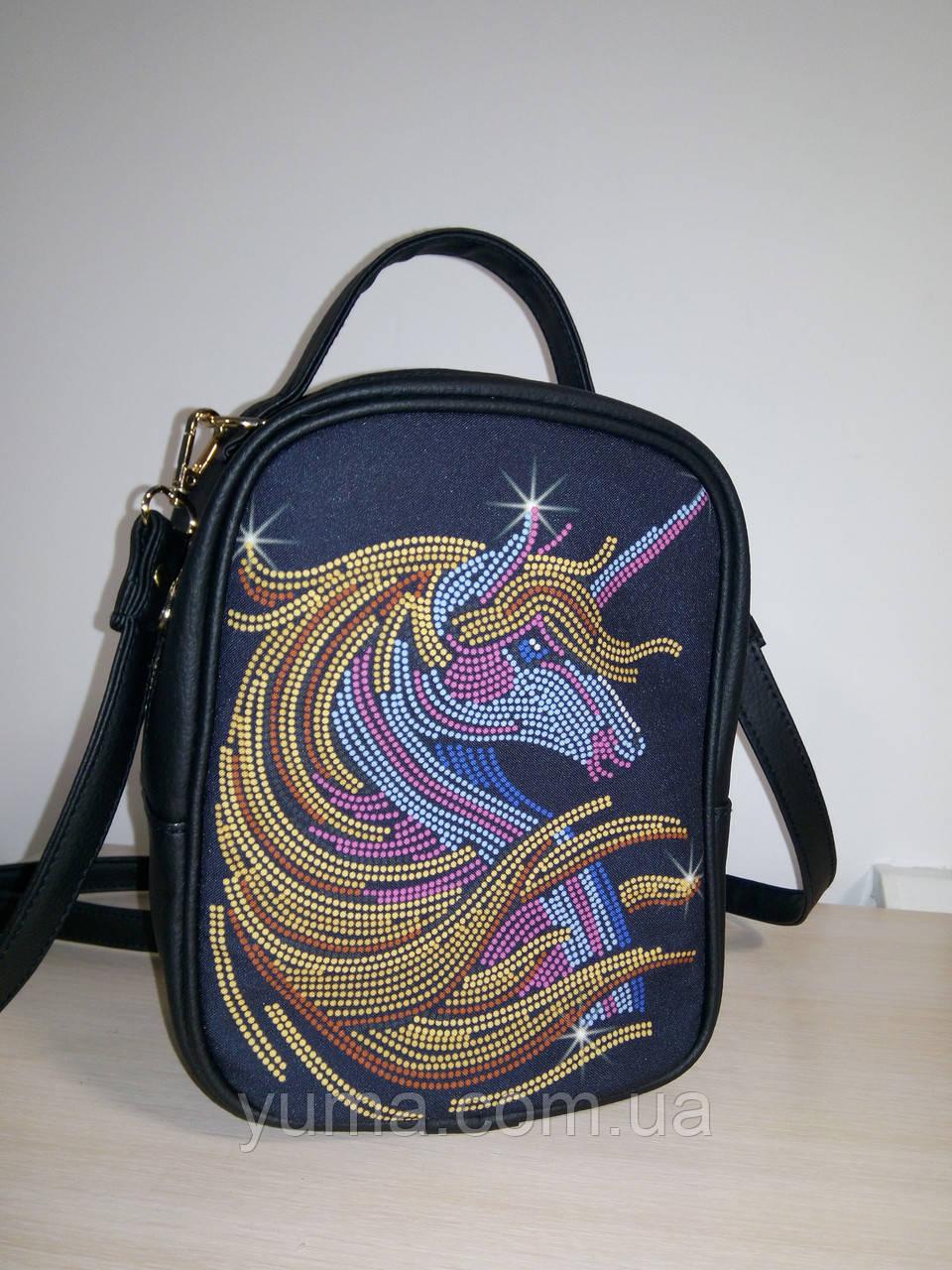 Сумка-рюкзак для вышивки бисером   Рюкзак М1 С24 черный  кожзам Единорог