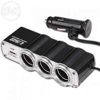 Разветвитель прикуривателя с 3-мя выходами + USB  WF-0120
