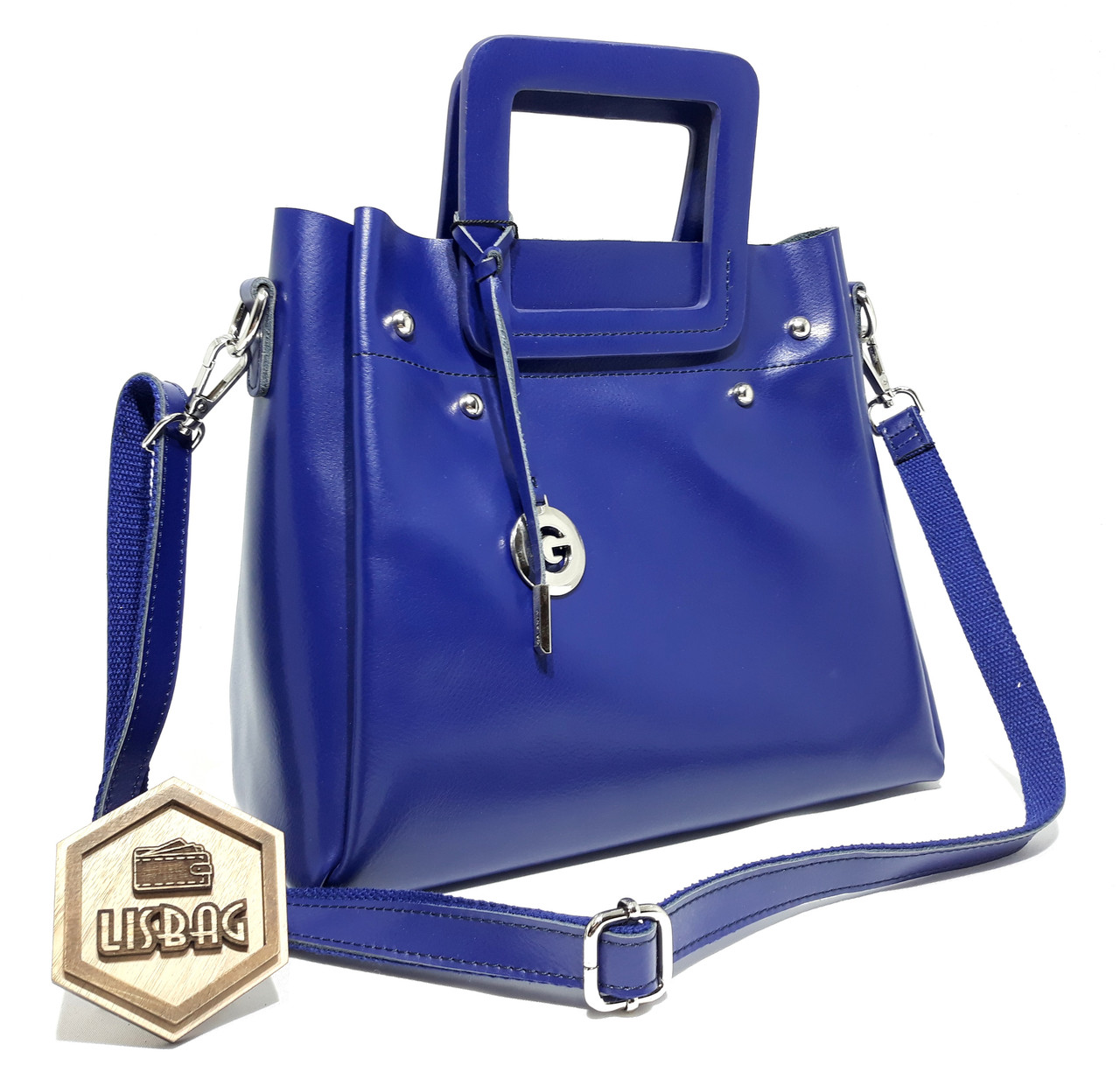 Шикарная Синяя женская сумка Galanty из натуральной кожи для любого сезона