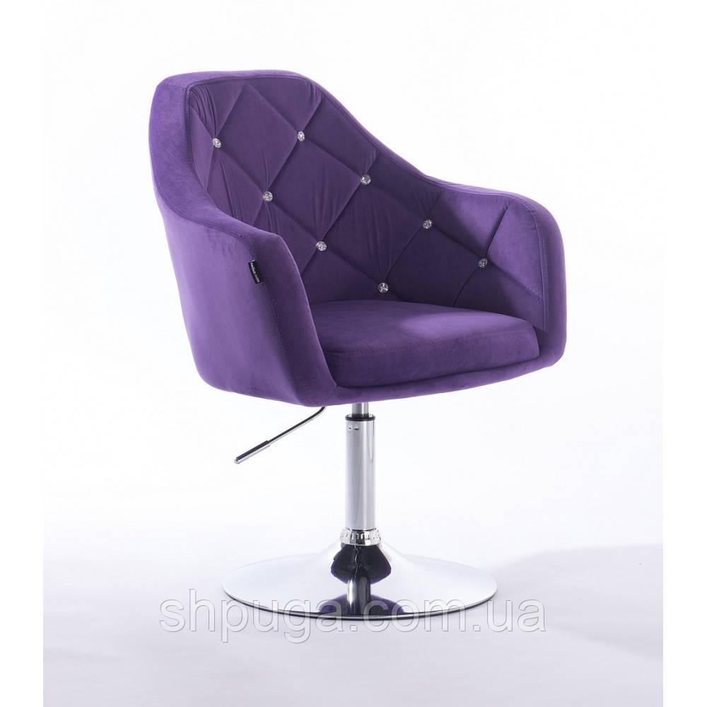 Кресло  830 фиолетовый  велюр стразы