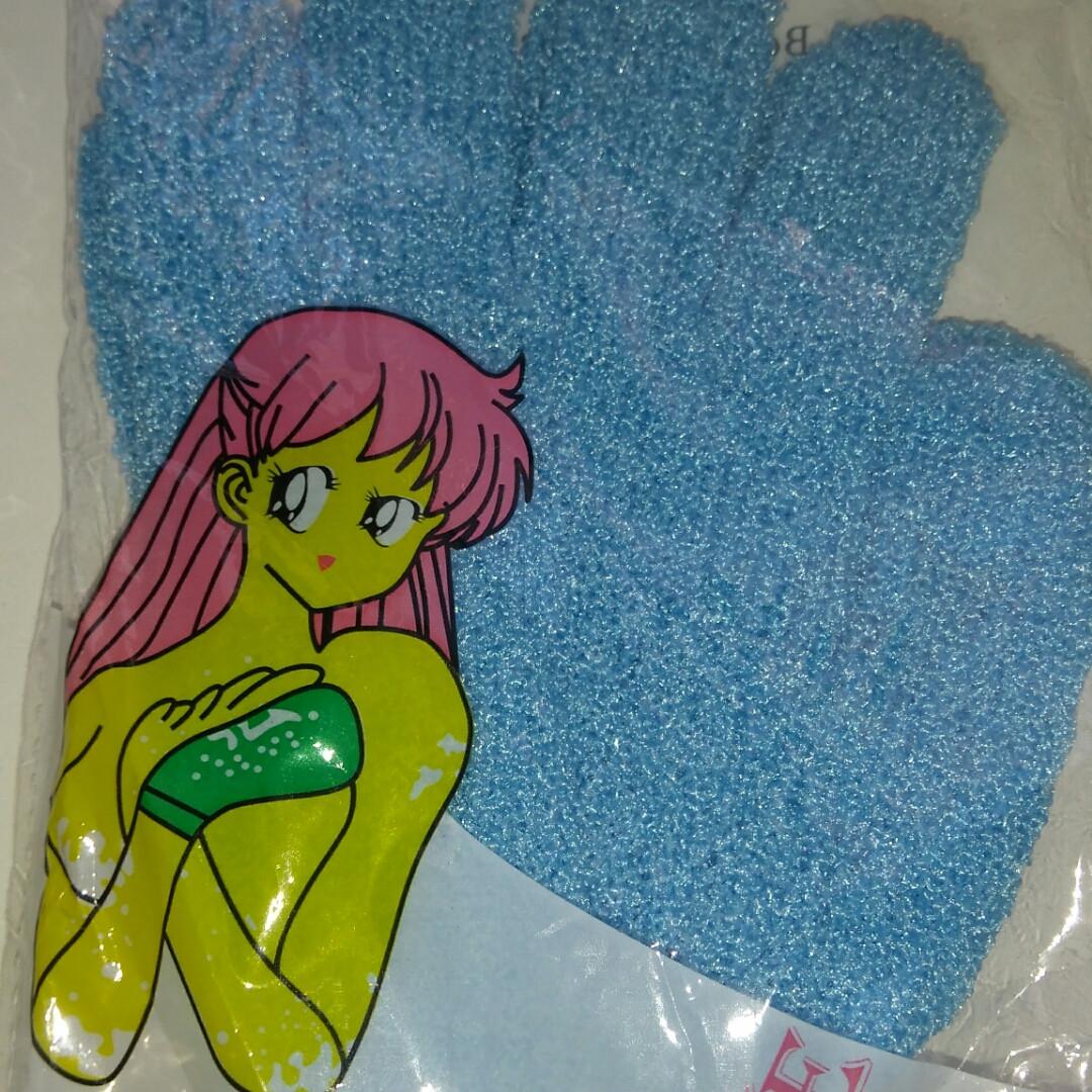 Перчатка-пилинг для купания,  2 штуки голубая, синяя