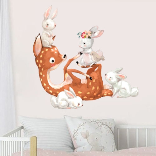 Интерьерная наклейка в детскую Акварельный олененок и зайчики (самоклеющаяся пленка, олень, зайцы)
