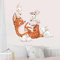 Интерьерная наклейка в детскую Акварельный олененок и зайчики (самоклеющаяся пленка, олень, зайцы), фото 1