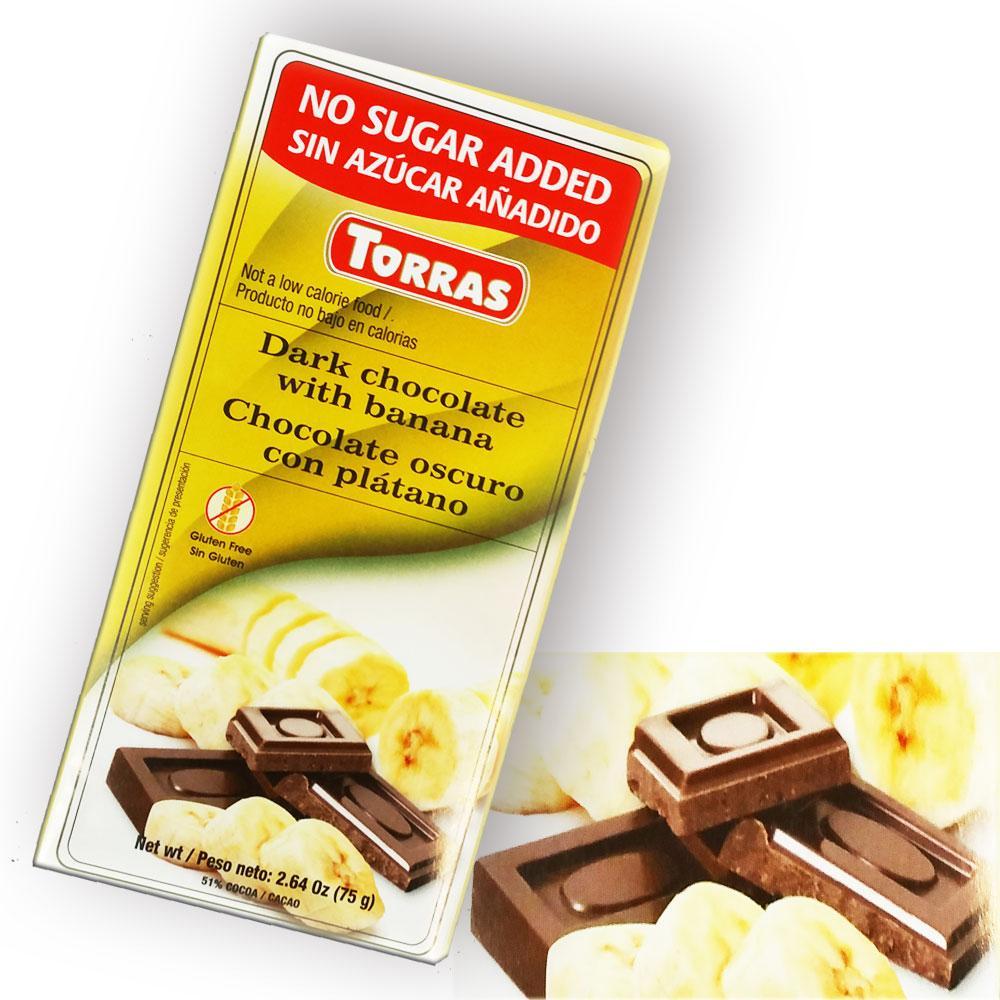 Черный Шоколад Torras без сахара, с бананом 75g, Испания