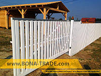 Ворота откатные  с односторонней зашивкой секции штакетом Bonafence 2400, 9000, 6000