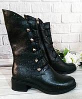 Женские ботинки полусапоги на широком каблуке, фото 1