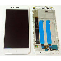 Дисплей для Xiaomi Mi A1/Mi5x с тачскрином белый с рамкой Оригинал