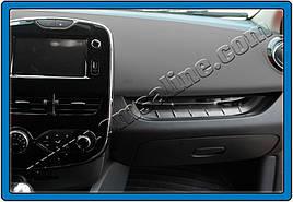 Накладка на переднюю консоль (нерж.) - Renault Clio IV 2012+ гг.