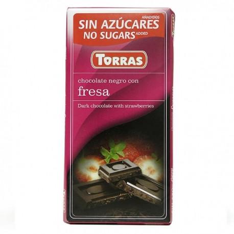 Черный Шоколад Torras без сахара, с клубникой 75g, Испания