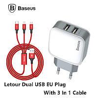 Сетевое ЗУ Baseus Letour Dual U Charger(EU)+3-in-1 Cable (Apple+Micro+Type-C) 2.4A, White/Red (TZCL-D92)
