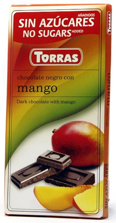 Черный Шоколад Torras без сахара, с манго 75g, Испания