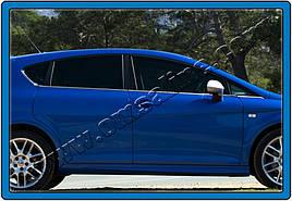 Наружняя окантовка стекол (8 шт, нерж) - Seat Leon 2005-2012 гг.