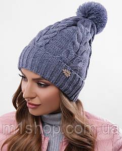 Женская вязаная шапка на флисе с бубоном (312 mrs)