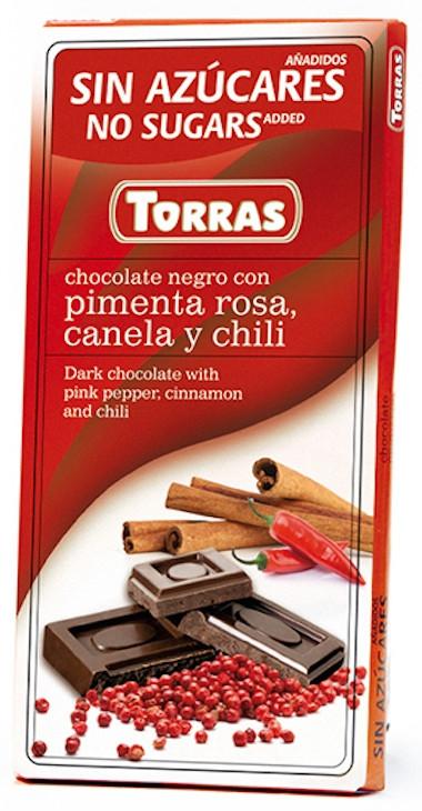 Черный Шоколад Torras без сахара, с перцем 75g, Испания