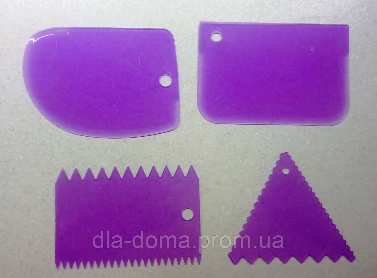 Шпатели пластиковые кондитерские набор 4 шт.
