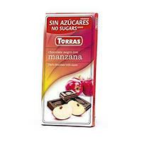 Черный Шоколад Torras без сахара, с яблоком 75g, Испания