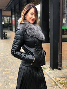 Куртка Кожаная Утепленная С Чернобуркой 057МК