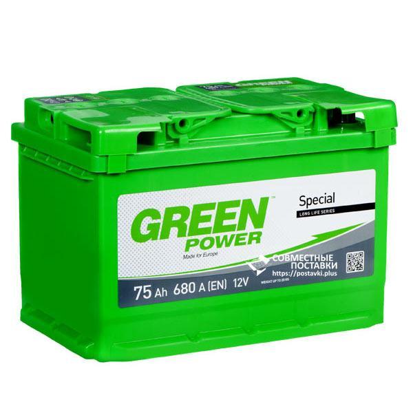 Аккумулятор Green Power 75 А.З.Г. со стандартными клеммами   L, EN680 (Азия)