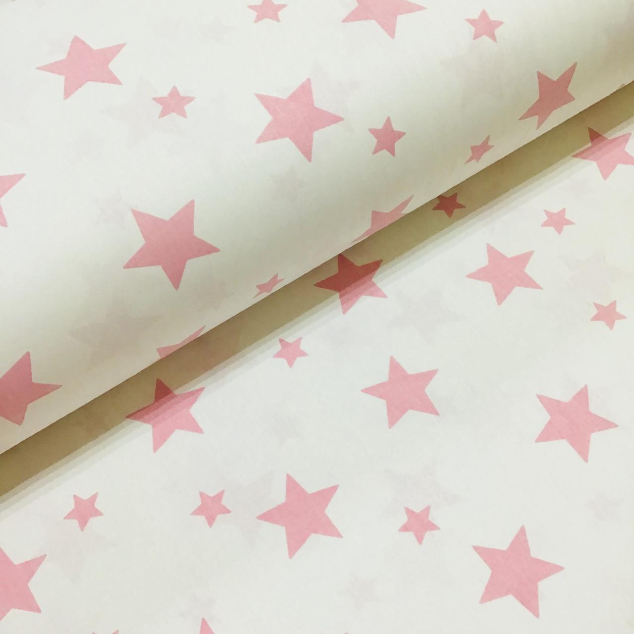Тканина поплін зорепад рожевий на білому (ТУРЕЧЧИНА шир. 2,4 м) №31-133 великий