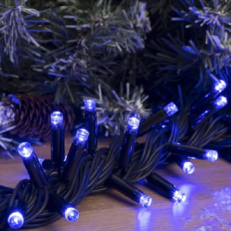 Гирлянда профессиональная светодиодная нить 100 LED 10м на черном проводе уличная цвет синий