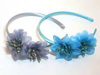 Обруч для волос, две лилии, пластик, ткань, ширина 10 мм, цвета в ассортименте (6 шт)