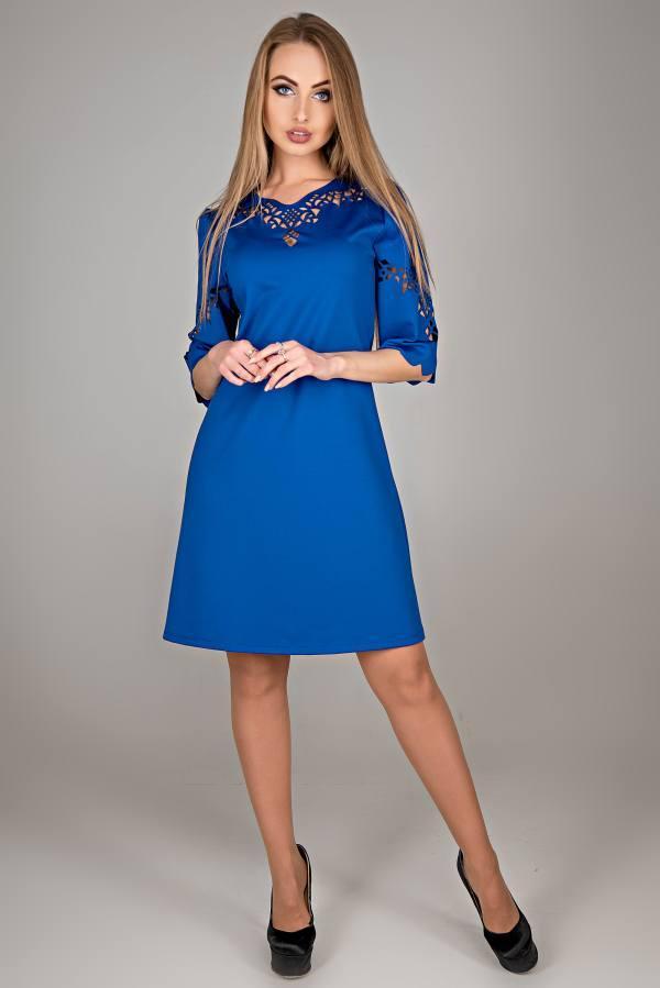 Молодежное платье Диколь электрик(44-52)