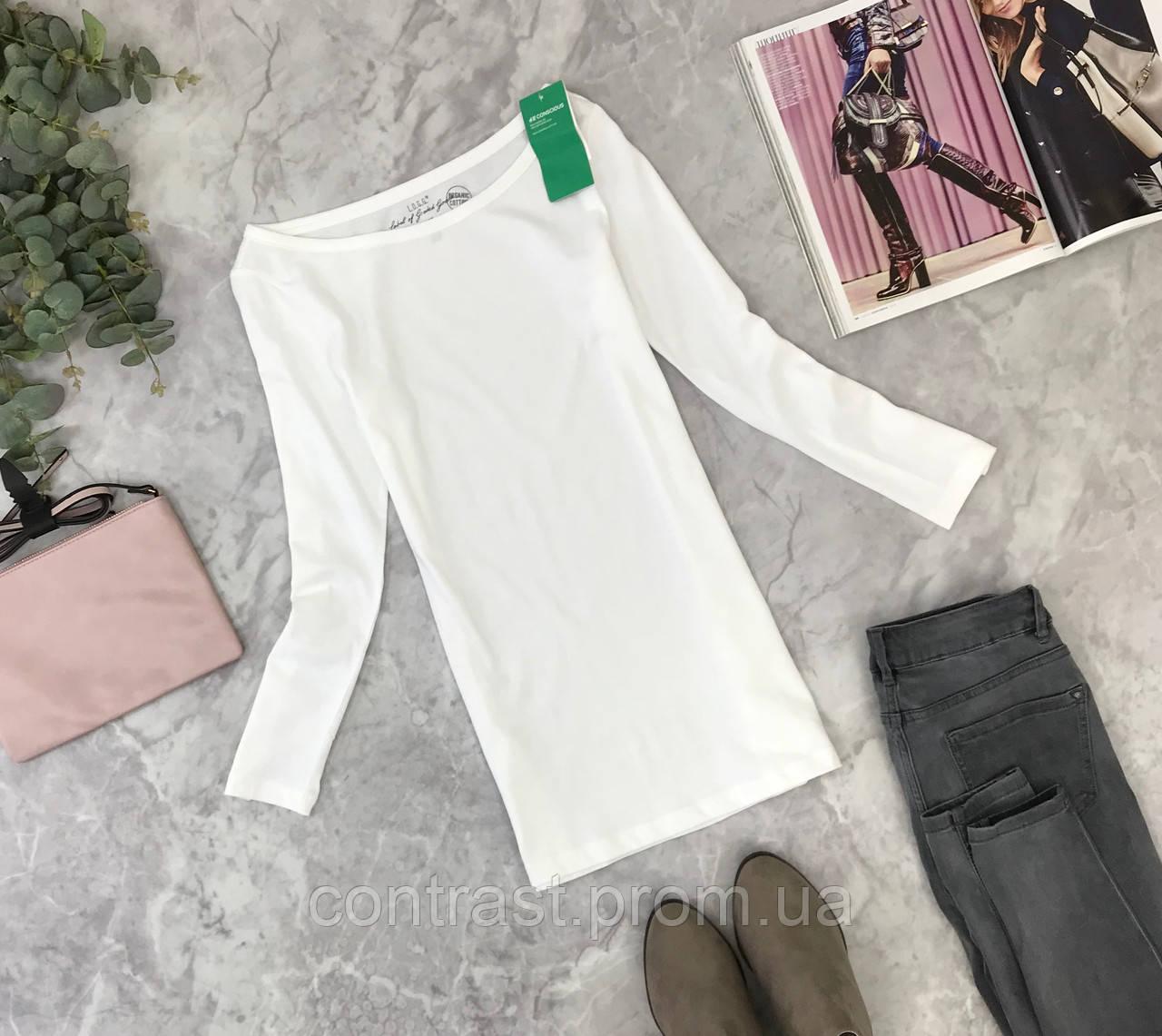 Базовый лонгслив белого цвета H&M  SH1845065 H&M
