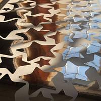 Набор виниловых наклеек Зеркальные Серебряные звезды (интерьерные наклейки самоклеющиеся зеркальные), серебро
