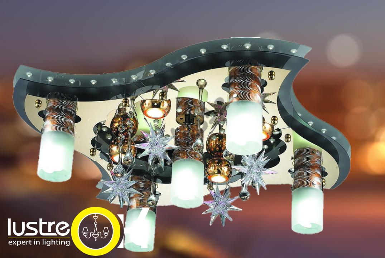 Люстра потолочная Люстра с подсветкой   LV202-09 White & Gold