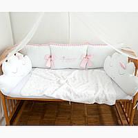"""Защита в детскую кроватку """"Принцесса"""", сатин, М-01, фото 1"""