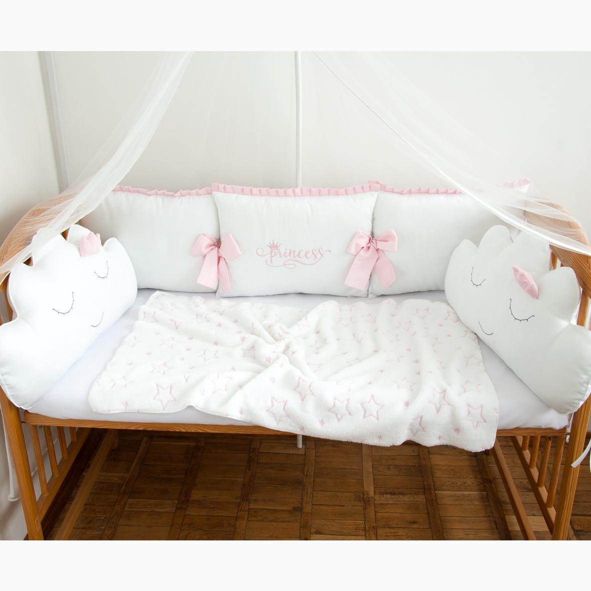 """Защита в детскую кроватку """"Принцесса"""", сатин, М-01"""