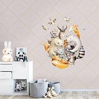 Интерьерная виниловая детская наклейка Лесные посиделки (самоклеющаяся пленка, жираф, олень, бегемот)