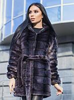 Женская шуба 90 см (100 см до 56 размера) с капюшоном графитового цвета под норку искусственная v164