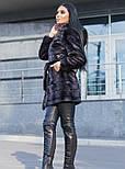 Шуба 90 см (100 см до 56 размера) с капюшоном графитового цвета под норку искусственная vN3249, фото 7