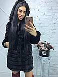 Черная женская шуба 90 см до колен с капюшоном мех под норку vN3245, фото 3