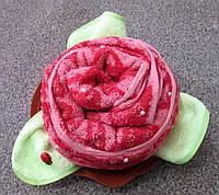 Роза из махрового полотенца для лица