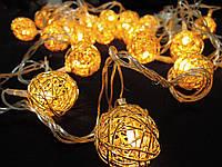 Светодиодная гирлянда Золотые шарики внутренняя 20 led , фото 1